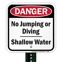 Danger No Jumping Shallow Water Sign
