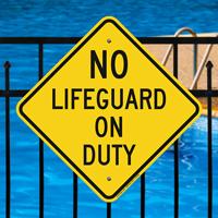 No Lifeguard Duty Signs
