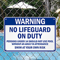 No Lifeguard On Duty Warning Sign