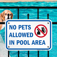 No Pets Allowed in Pool Area Signs