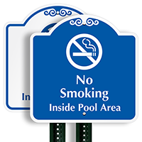 No Smoking Inside Pool Area Sign