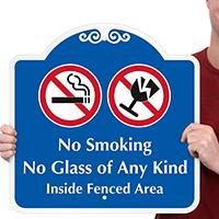 No Smoking No Glass Sign