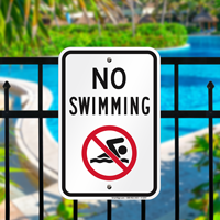 No Swimming (With Graphic) Signs