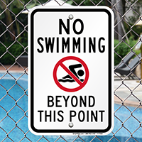 No Swimming Beyond This Point Signs (with Graphic)