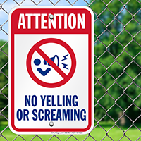 No Yelling Or Screaming Pool Signs