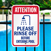 Please Rinse Off Before Entering Pool Signs