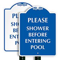 Please Shower Before Entering Pool SignatureSign