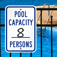 Pool Max Capacity Persons Signs