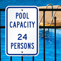 Pool Max Capacity Persons Signs