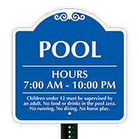 Pool Hours 7:00 AM To 10:00 PM Sign