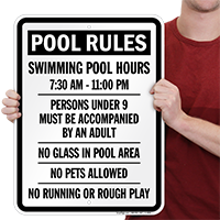 Swimming Pool Hours Signs