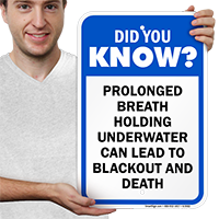 Prolonged Breath Holding Underwater Pool Signs