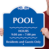 Residents and Guests Only Pool Hours Sign
