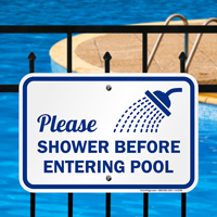 Please Shower Before Entering Pool Signs