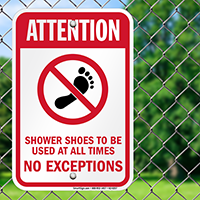 Use Shower Shoes All Times No Exceptions Signs