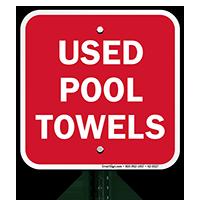 Used Pool Towels Signs