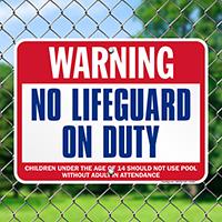 Warning No Lifeguard On Duty pool Signs