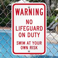Warning No Lifeguard On Duty Signs