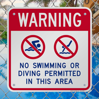 Warning No Swimming Or Diving Signs