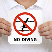 No Diving Pool Marker With Graphic