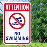 Attention No Swimming Sign
