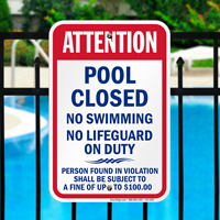 Pool Closed No Swimming Kentucky Sign