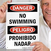 Bilingual Danger No Swimming, Peligro Prohibido Nadar Sign