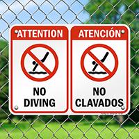 Bilingual No Diving Sign with Symbol