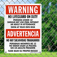 Bilingual No Lifeguard, Use Adult Supervision Sign