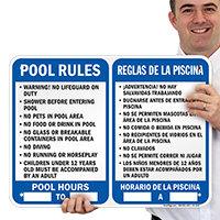 Bilingual Pool Rules Sign