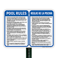 Bilingual Pool Area Rules Sign