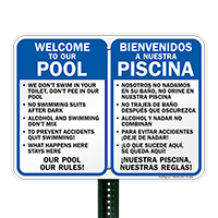 Bilingual Private Pool Area Rules Sign