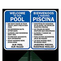 Bilingual Private Pool Area Rules Sign