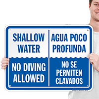 Bilingual Shallow Water, No Diving Allowed Sign