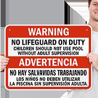 Bilingual Warning No Lifeguard on Duty Sign