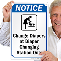 Change Diapers At Changing Station Pool Sign