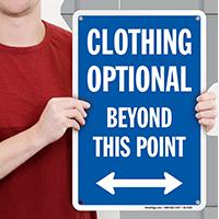 Clothing Optional Beyond Point sign, Bidirectional Arrow