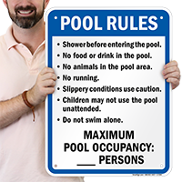 Pool Rules Sign for Colorado