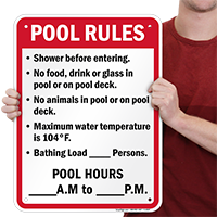 Florida Pool Rules Sign