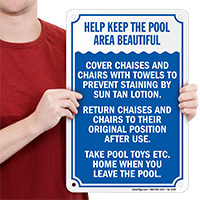 Help Keep Pool Area Beautiful Sign