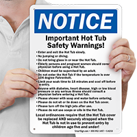 Hot Tub Safety Warnings Sign