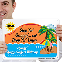 Humorous Skinny Dunkers Welcome Sign