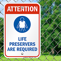 Life Preservers Are Required (graphic) Sign