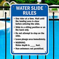 Water Slide Rules Sign for Minnesota
