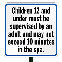 Children Must Be Supervised, Spa Rules Sign