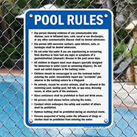 Pool Rules Sign for New Jersey