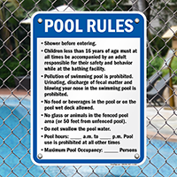 Pool Rules Sign for New York
