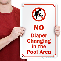 No Diaper Changing In Pool Area Graphic Sign