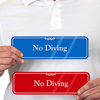 No Diving Pool Safety ShowCase Wall Sign