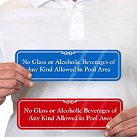 No Glass, Alcoholic Beverages In Pool Area Sign